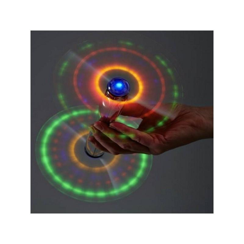 Spinner Double Windmill cu LED, efecte luminoase, argintiu