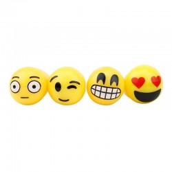Inel Emoji Face, LED multicolor, 3cm, set 4 emoticoane, galben