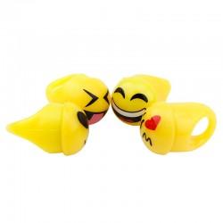 Set inele Emoji, LED multicolor, 4 emoticoane smiley face, 30mm, galben