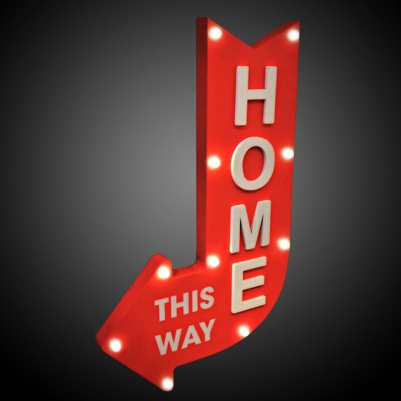 Panou decorativ Home this way, 10 LED-uri