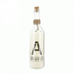Sticla de vin Ambiance cu LED, decorativa cu dop pluta si snur din sfoara