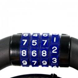 Antifurt bicicleta, cablu cu inchidere cifru, lungime 80cm, negru