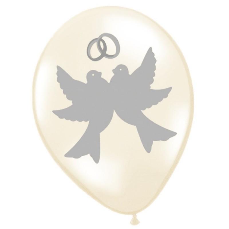 Baloane pentru nunta, imprimeu porumbei si verighete, 12 bucati, alb