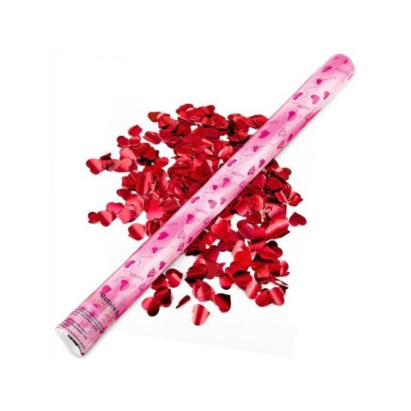 Tub confetti 60 cm pentru petreceri, forma inima, culoare rosie
