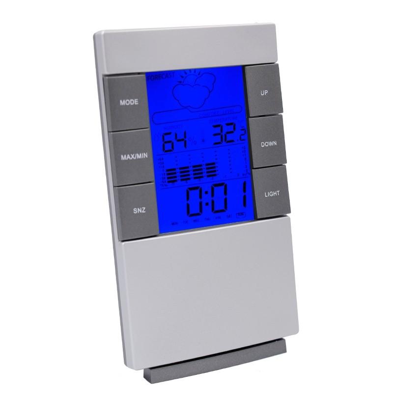 Statie meteo, higrometru, termometru, pictograme meteo, calendar, alarma