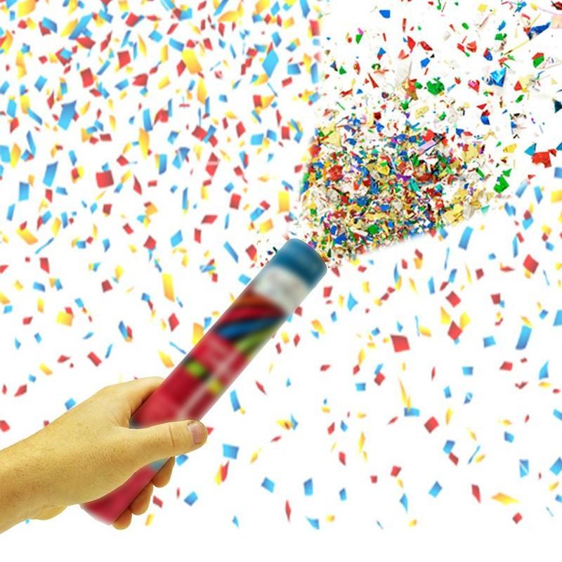 Tun confetti aniversari, 80 cm, multicolore