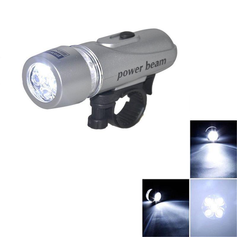 Far bicicleta 5 LED-uri, 2 moduri iluminare, gri