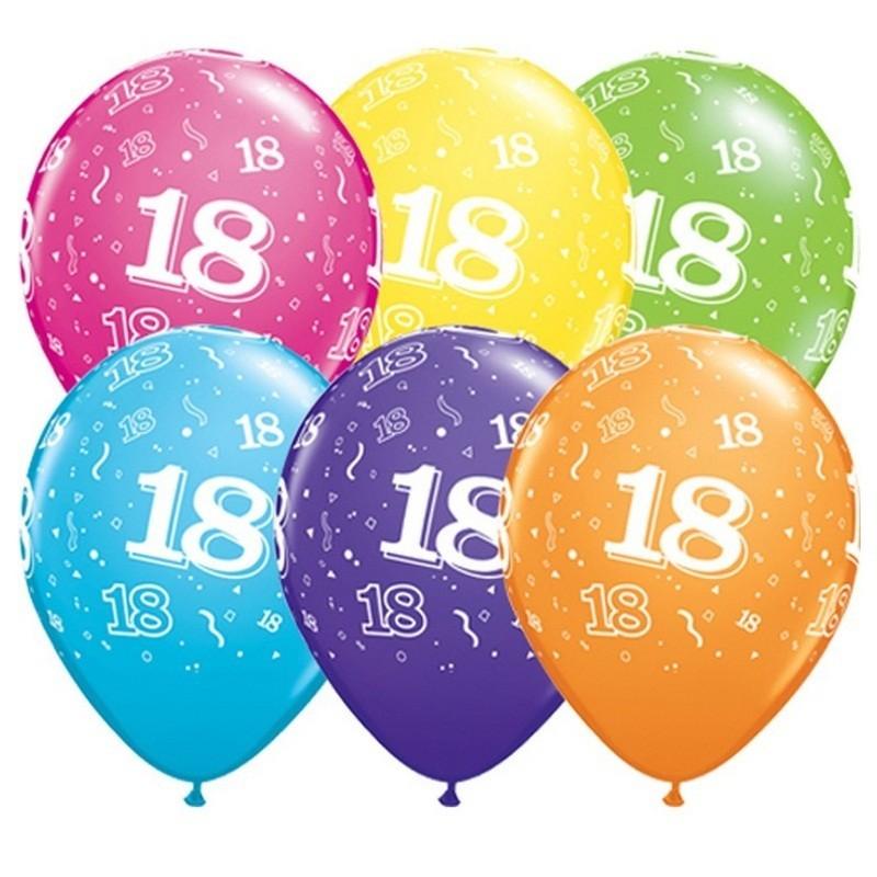 Set 100 baloane latex, 12 inch, inscriptie 18 ani, diverse culori