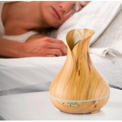 Difuzor aroma terapie, LED, stejar deschis, 300 ml, temporizator