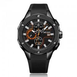 Ceas barbatesc casual, Quartz, 1.77 inch, cronometru, calendar, curea silicon, Megir