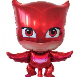 """Balon figurina """"Eroii in pijamale"""" Bufnita, rosu, 65x45 cm, aer sau heliu"""