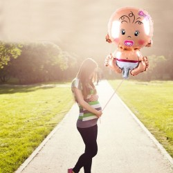 Balon folie fetita, in forma de bebe, 72x50 cm, aer sau heliu