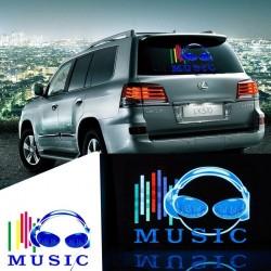 Panou egalizator auto LED-uri lumina multicolora, 45x29 cm, fundal transparent