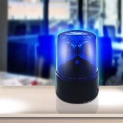 Lampa LED decorativa efect girofar, 0.06W, 11 cm, portabila, ABS albastru