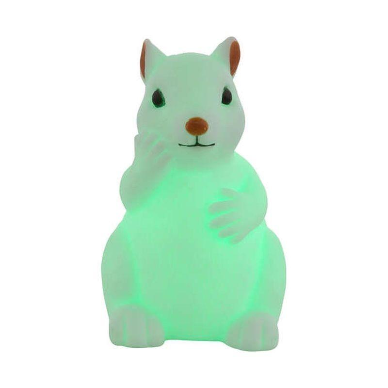 Lampa de veghe decorativa, figurina Veverita, LED RGB 0.06W, 11 cm, silicon