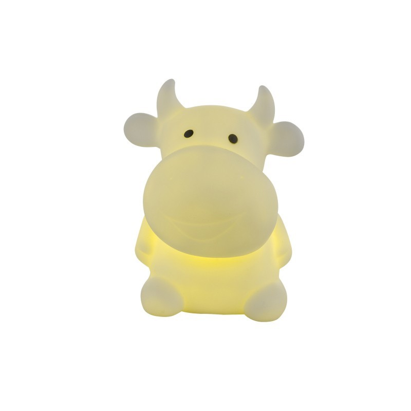 Veioza figurina vacuta, LED multicolor, 0.06W, alimentare baterii, silicon