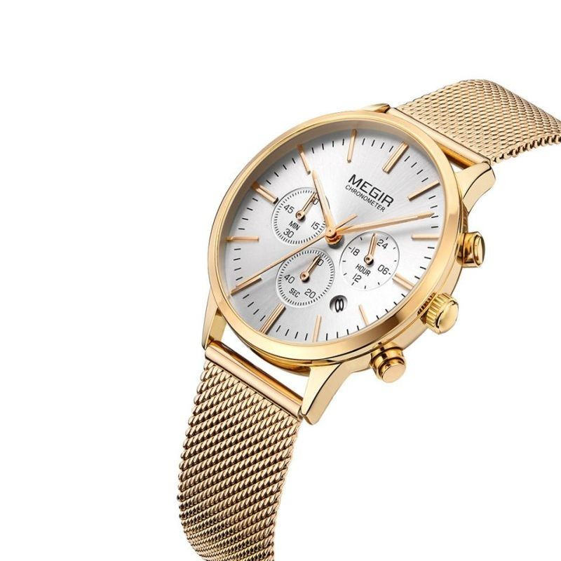 Ceas de mana Quartz, indicatoare fosforescente, cronometru, auriu, Megir