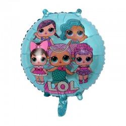 Balon folie LOL Surprise, party fetite, 44 cm, forma rotunda, albastru