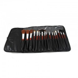 Set 16 pensule profesionale make-up, par sintetic, husa piele ecologica