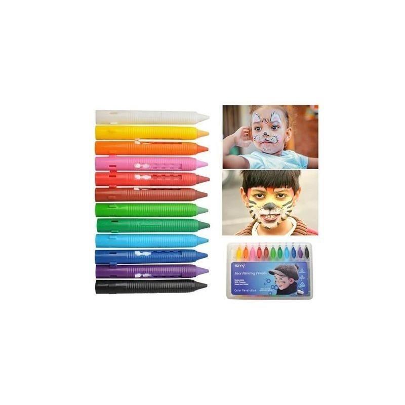 Set creioane colorate pictura fata si corp, 12 culori, petrecere