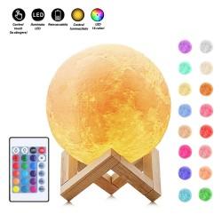 Luna  lámpa, 3D, 20cm, LED 16 szín, újratölthető, távirányító, fa támogatás