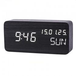 Ceas digital de birou, afisaj LED alb, senzor sunet, calendar, termometru, 3 alarme