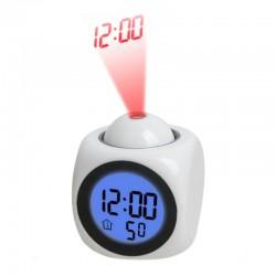 Ceas digital de birou, LCD, proiectie ora, alarma, 5 melodii, temperatura