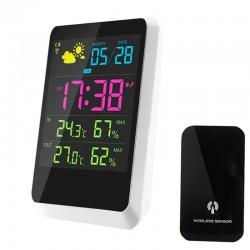 Statie meteo cu emitator, LCD color, USB, alarma, calendar, raza actiune 30 m