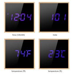 Ceas digital birou, LED albastru, senzor sunet, alarma, data, forma cubica, lemn