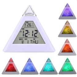 Ceas digital forma piramida, iluminat LED, 8 melodii, alarma, temperatura