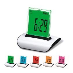 Ceas digital cu ecran tactil, iluminat LED, temperatura, data, cronometru, alarma