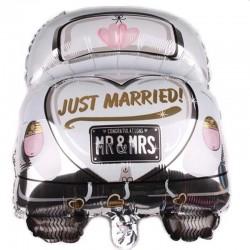 Balon folie Just Married MR&MRS, forma masina, 59x47, multicolor