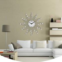 Ceas de perete cu cristale, mecanism Quartz, 50 cm, cifre arabe, otel