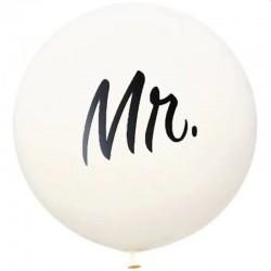Balon gigant inscriptie Mr, diametru 36 inch, material latex, alb
