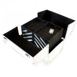 Geanta pentru cosmetice cu organizator, 7 compartimente, interior velur, argintiu