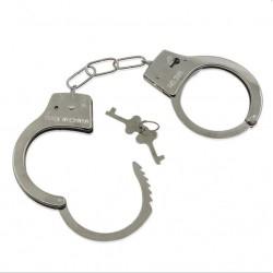 Catuse politist, 2 chei, material metal, legatura tip lant, argintiu