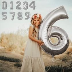Balon folie cifra gigant, argintiu, inaltime 102 cm, aniversare