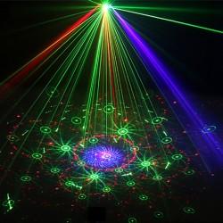 Proiector laser RGB de interior, senzor sunet, 5 moduri, USB, telecomanda