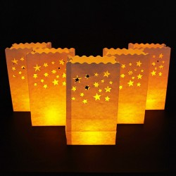 Lampioane decorative model stelute, 25cm, set 5 bucati, alb