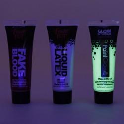 Vopsea Glow fosforescenta pentru fata si corp, 3 culori, 12ml, Halloween