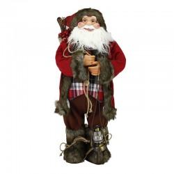 Figurina Mos Craciun cu felinar, inaltime 60cm, sac cadouri, decoratiune Craciun