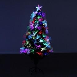 Brad cu fibra optica si LED-uri multicolor, 90 cm, suport, varf stea, Craciun