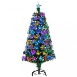 Brad artificial cu fibra optica multicolora, decor stea, 120 cm, suport metalic