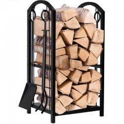 Suport pentru depozitare lemne, accesorii, material otel, inaltime 73cm, negru