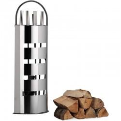 Set accesorii pentru foc, suport, cleste, carlig, matura, lopata, otel