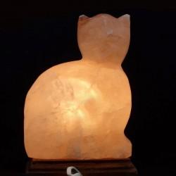 Lampa de sare Pisica, suport lemn, E14, 15W