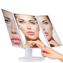 Oglinda cosmetica reglabila, iluminata LED, Zoom, oglinzi suplimentare
