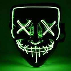 Masca Purge cu fir El Wire, lumineaza verde, invertor, 3 moduri iluminare, horror
