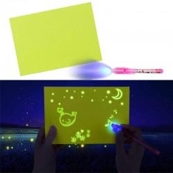 Tablita magica rescriptibila, lumineaza galben, marker UV inclus, fosforescenta