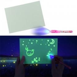 Tablita magica fosforescenta, lumineaza turqoise, rescriptibila, marker UV